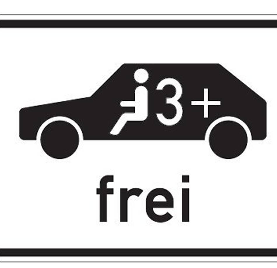 Verkehrszeichen: Umweltspuren für Fahrgemeinschaften frei