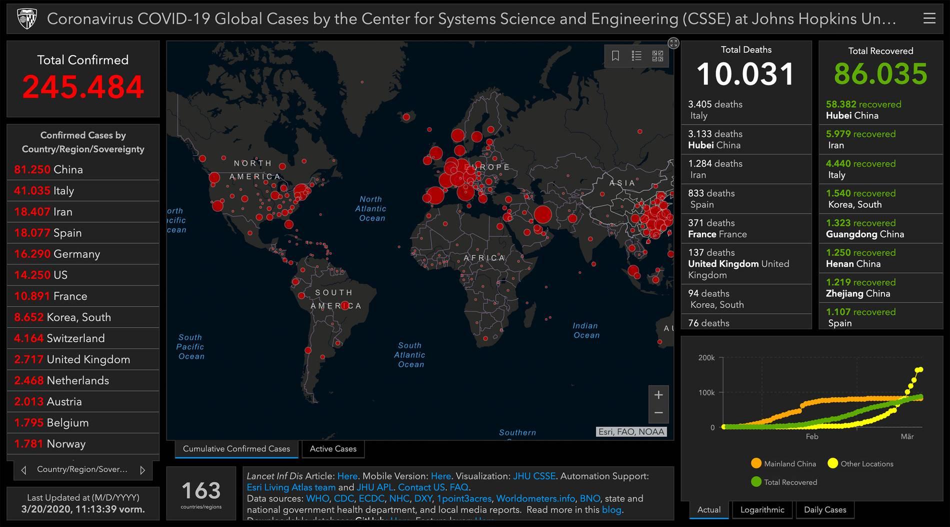 Coronavirus Weltkarte Live